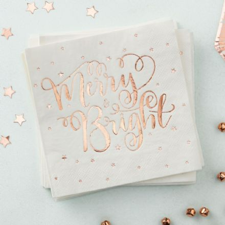 Festive Rose Gold Foiled 'Merry & Bright' Paper Napkins